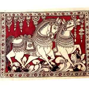 kalamkari-painting-horse-duo