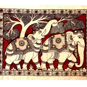 kalamkari-painting-twin-elephants(craftsinindia)