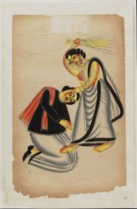 Kalighat_Painting_Calcutta_19th_Century_-_Woman_Strinking_Man_With_Broom