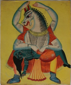 Nrisingha Avatar 4th incarnation of Vishnu - 19th Century Kalighat Painting