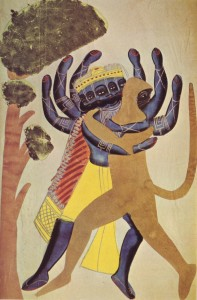 The_demon_ravana_fighting_with_the_ape_hanuman,_1880,_kalighat_school