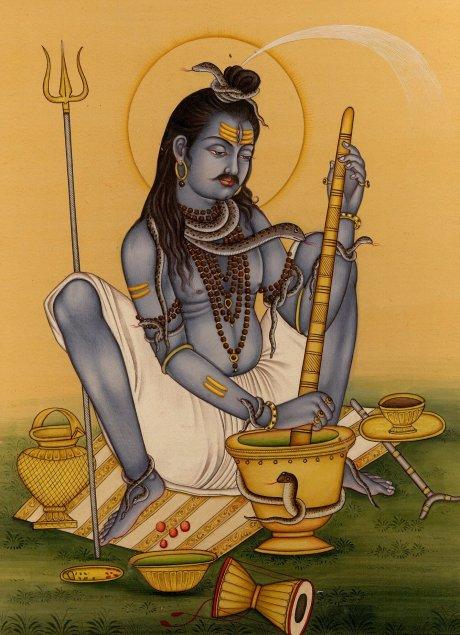 Lord Shiva grinding bhang.